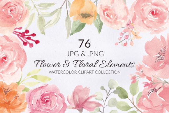 Print on Demand: 76 Flower and Floral Watercolor Clipart Graphic Illustrations By elsabenaa