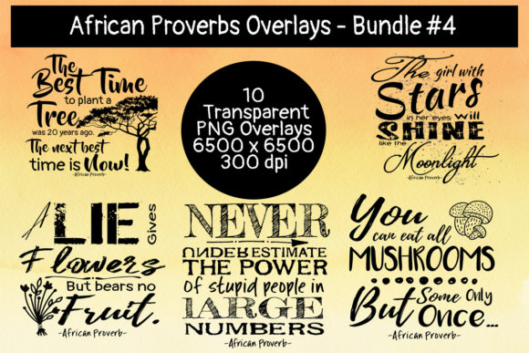 African Proverbs Overlay Bundle #4 Graphic Crafts By Words Count Designs