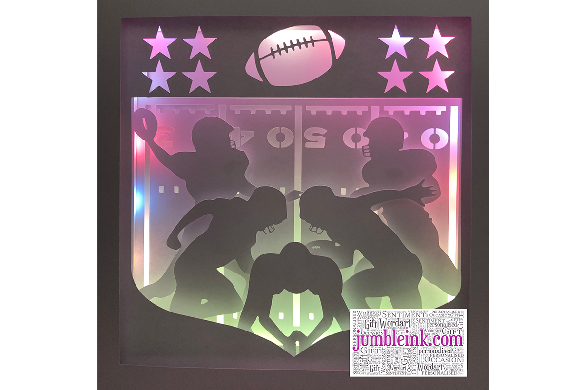 Download Free American Football 3d Paper Cut Light Box Graphic By Jumbleink Digital Downloads Creative Fabrica for Cricut Explore, Silhouette and other cutting machines.