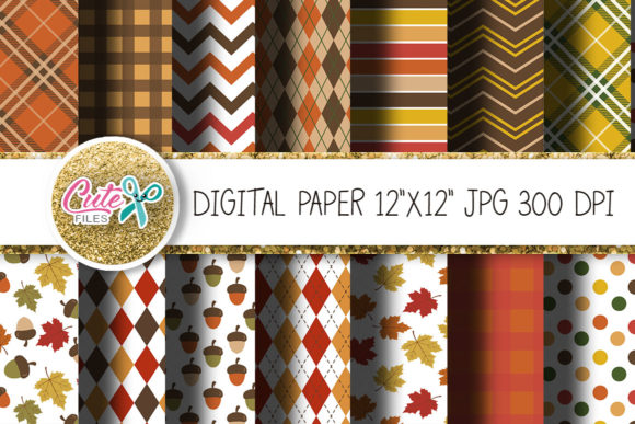 Autumn Digital Paper for Crafter Graphic Textures By Cute files