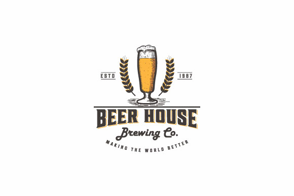 Download Free Beer House Vintage Logo Design Graphic By Burhan Bn006 Creative Fabrica for Cricut Explore, Silhouette and other cutting machines.