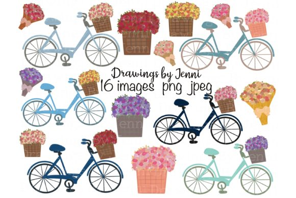 Download Free Bicycle Flower Basket Flower Bouquet Graphic By for Cricut Explore, Silhouette and other cutting machines.