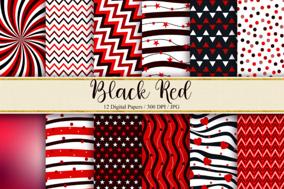 Black Red Digital Papers Graphic Backgrounds By PinkPearly