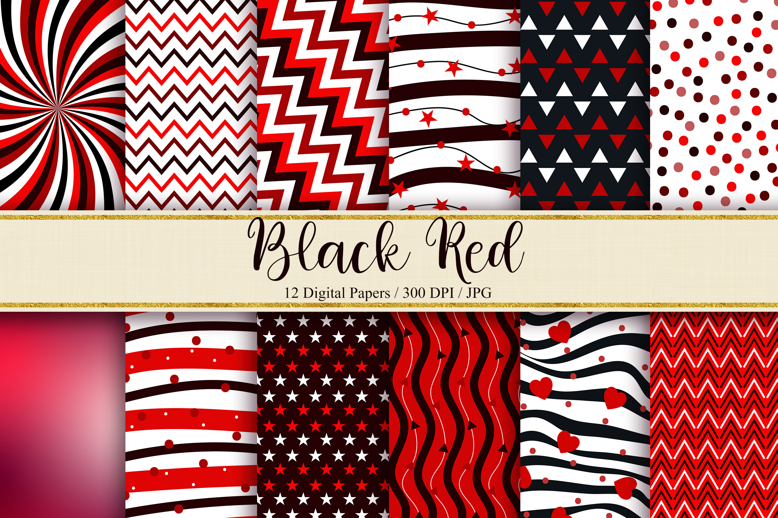 Download Free Black Red Digital Papers Graphic By Pinkpearly Creative Fabrica SVG Cut Files