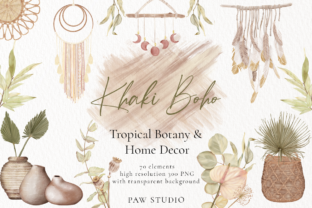 Print on Demand: Boho Tropical Floral Graphic - Home Decor Graphic Illustrations By PawStudio
