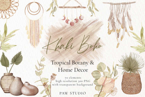 Print on Demand: Boho Tropical Floral Graphic, Home Decor Graphic Illustrations By PawStudio