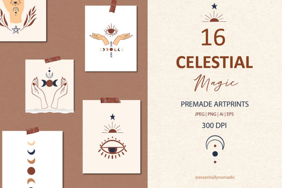 Celestial Symbol Art and Clipart Set Graphic Illustrations By EssentiallyNomadic