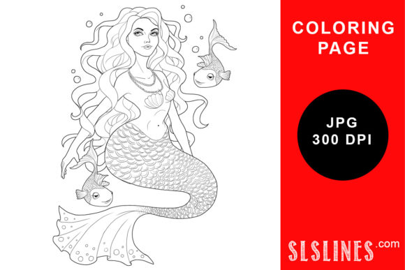 Print on Demand: Curvy Mermaid Coloring Page Graphic Coloring Pages & Books Adults By SLS Lines