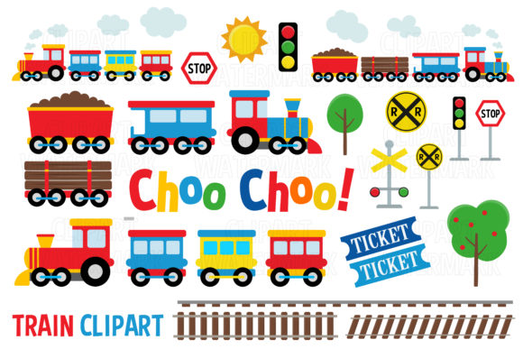 Cute Train Clipart Graphic Illustrations By magreenhouse