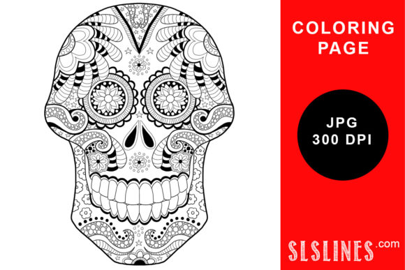 Day Of The Dead Sugar Skull Coloring Graphic By Sls Lines