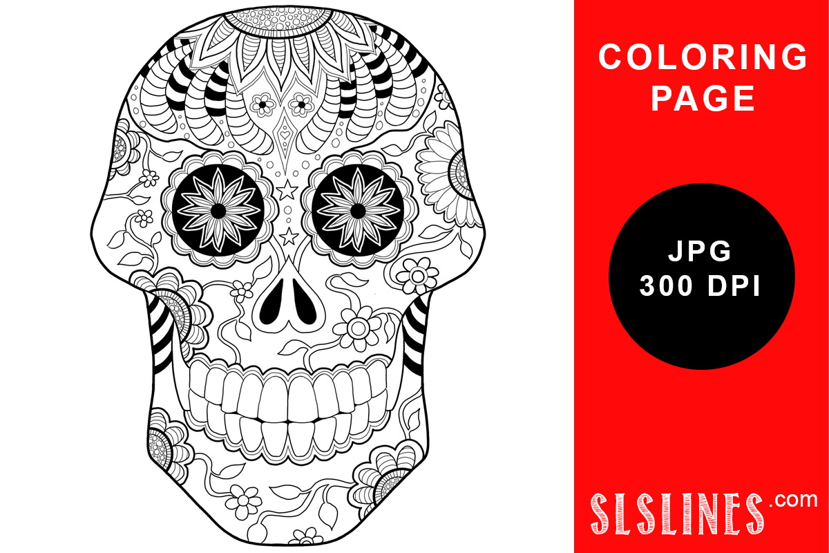 Download Free Day Of The Dead Sugar Skull Coloring Graphic By Sls Lines for Cricut Explore, Silhouette and other cutting machines.