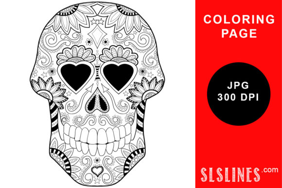 Day Of The Dead Sugar Skull Coloring (Graphic) By SLS Lines · Creative  Fabrica