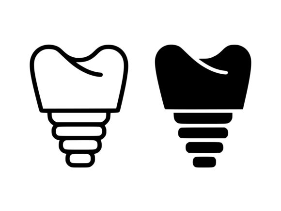 Download Free Dental Implant Line And Glyph Icon Graphic By Anrasoft for Cricut Explore, Silhouette and other cutting machines.