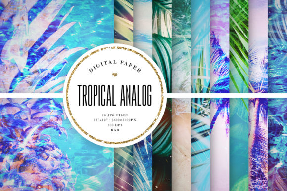 Print on Demand: Double Exposure Tropical Backgrounds Graphic Backgrounds By Sabina Leja
