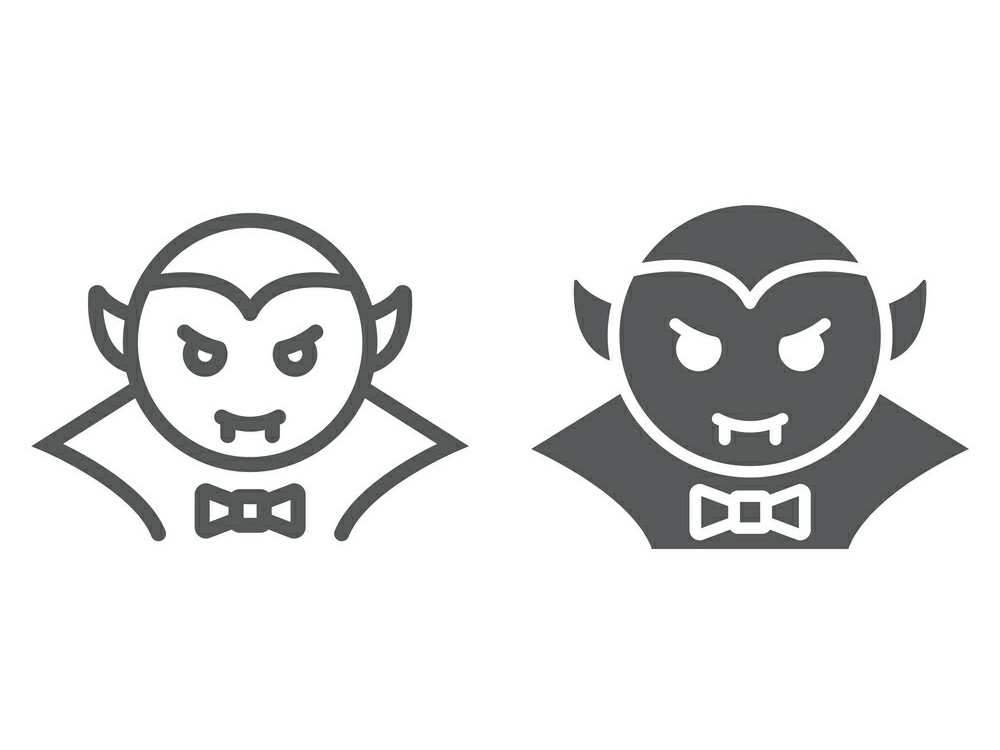 Download Free Dracula Vampire Line And Glyph Icon Graphic By Anrasoft for Cricut Explore, Silhouette and other cutting machines.