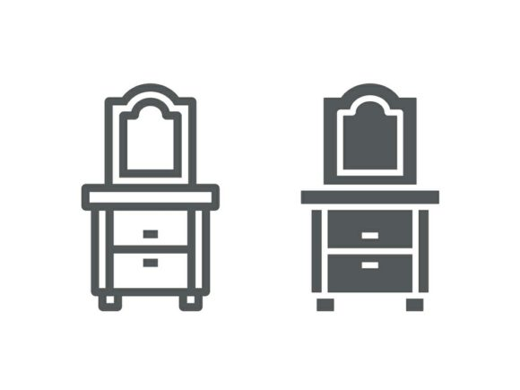 Download Free Dresser Line And Glyph Icon Graphic By Anrasoft Creative Fabrica for Cricut Explore, Silhouette and other cutting machines.