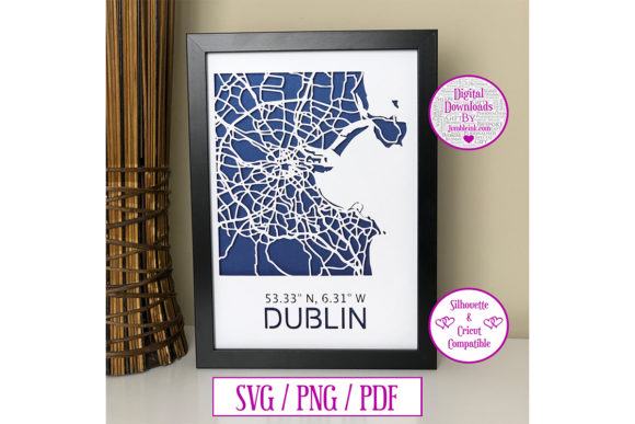 Dublin Map Paper Cut Digital  Graphic 3D SVG By Jumbleink Digital Downloads