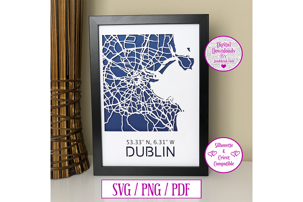 Download Free Dublin Map Paper Cut Digital Graphic By Jumbleink Digital for Cricut Explore, Silhouette and other cutting machines.