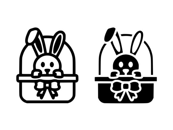Download Free Easter Bunny In Basket Line And Glyph Graphic By Anrasoft for Cricut Explore, Silhouette and other cutting machines.