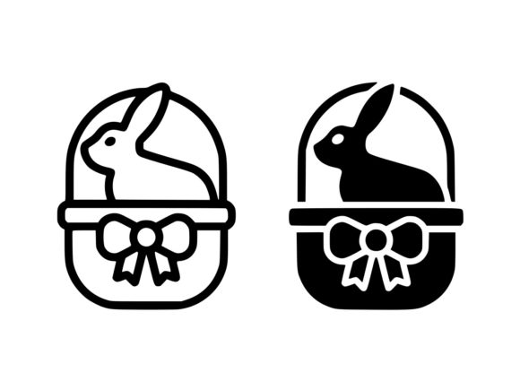 Download Free Easter Bunny In Basket Line And Glyph Ic Graphic By Anrasoft Creative Fabrica for Cricut Explore, Silhouette and other cutting machines.