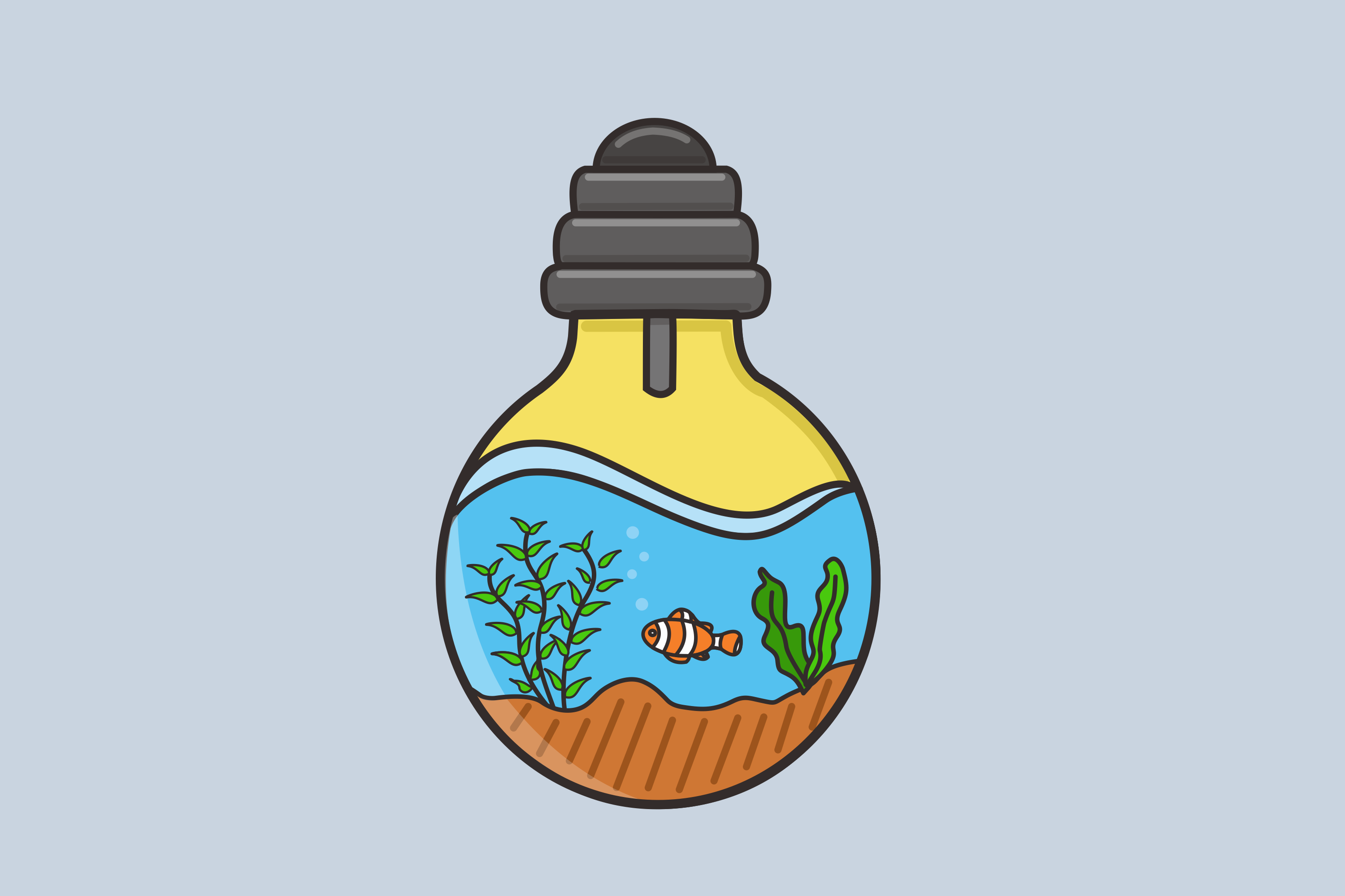 Download Free Fish In The Water Bulb Graphic By Nuraisyahamalia1729 Creative for Cricut Explore, Silhouette and other cutting machines.