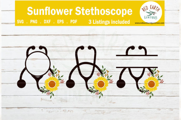 Download Free Floral Heart Stethoscope Monogram Frames Graphic By Redearth And for Cricut Explore, Silhouette and other cutting machines.