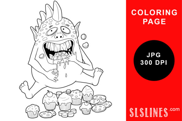Print on Demand: Foodie Monster Coloring Page Graphic Coloring Pages & Books Adults By SLS Lines