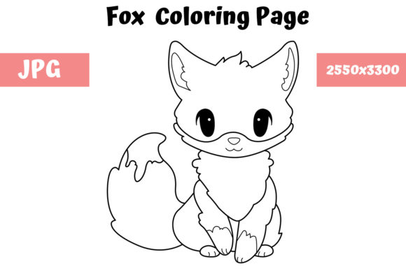 Fox Coloring Page For Kids Graphic By Mybeautifulfiles Creative Fabrica