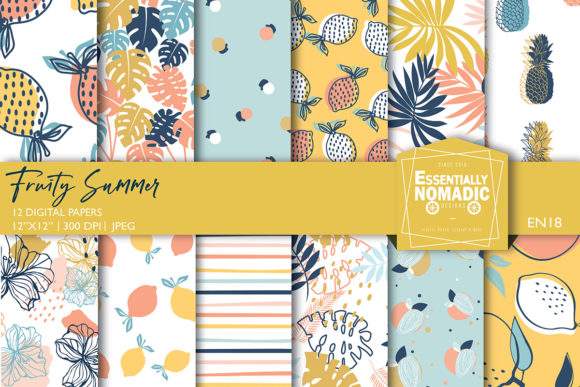 Fruity Tropical Summer Digital Paper Graphic Patterns By EssentiallyNomadic