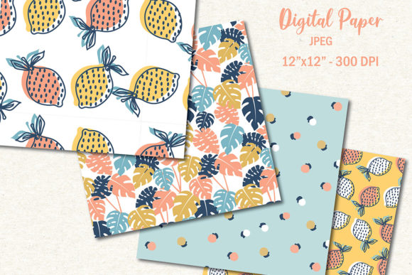 Download Free Fruity Tropical Summer Digital Paper Graphic By for Cricut Explore, Silhouette and other cutting machines.