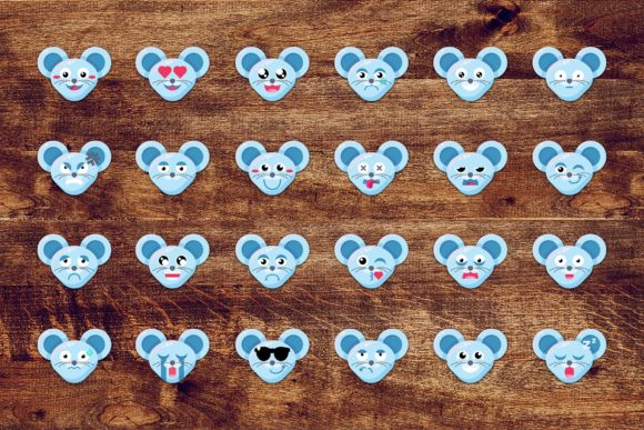 Download Free Fun Mouse Emoticons Set Graphic By Barsrsind Creative Fabrica for Cricut Explore, Silhouette and other cutting machines.