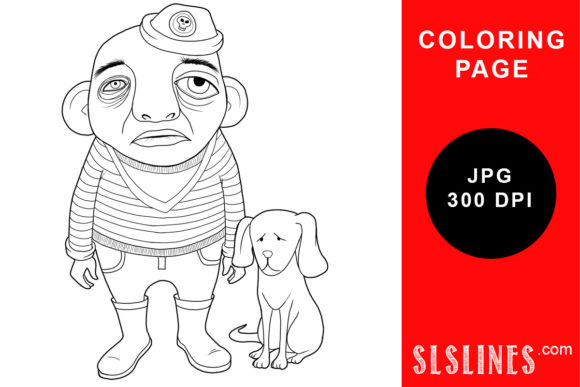 Print on Demand: Funny Little Man and Dog Coloring Page Graphic Coloring Pages & Books Adults By SLS Lines