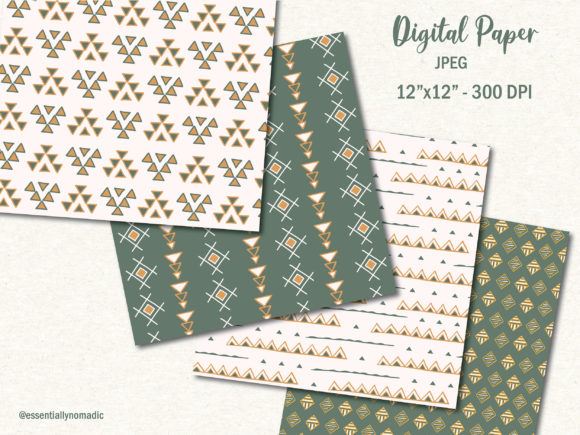Download Free Geometric Tribal Art Digital Paper Graphic By Essentiallynomadic for Cricut Explore, Silhouette and other cutting machines.
