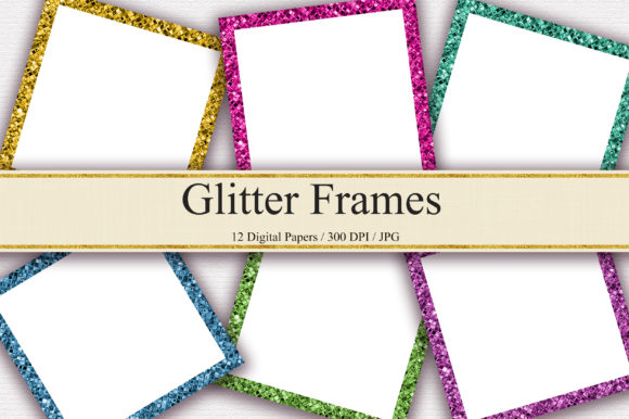 Glitter Frames Digital Papers Graphic Backgrounds By PinkPearly