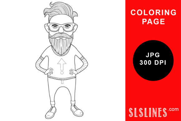 Download Free Groovy Man Hipster Coloring Page Graphic By Sls Lines Creative for Cricut Explore, Silhouette and other cutting machines.