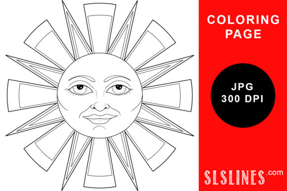 Print on Demand: Happy Face Sunshine Coloring Page Graphic Coloring Pages & Books Adults By SLS Lines