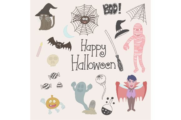 Download Free Happy Haloween Doodle Drawing Graphic By Firdausm601 Creative for Cricut Explore, Silhouette and other cutting machines.