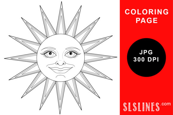 Print on Demand: Happy Smiling Sun Face Coloring Page Graphic Coloring Pages & Books Adults By SLS Lines