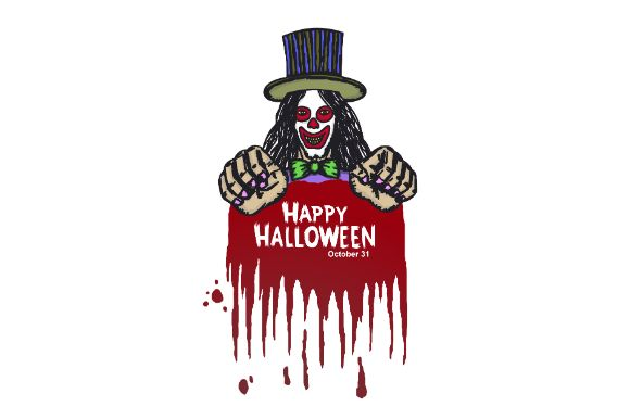 Download Free Happy Halloween Clown With Blood Poster Graphic By Firdausm601 SVG Cut Files