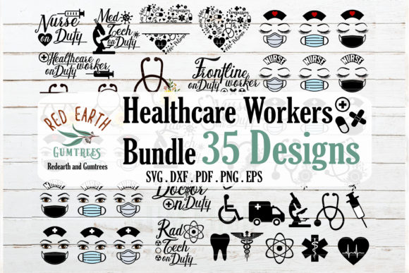 Download Free Healthcare Workers Bundle Graphic By Redearth And Gumtrees for Cricut Explore, Silhouette and other cutting machines.