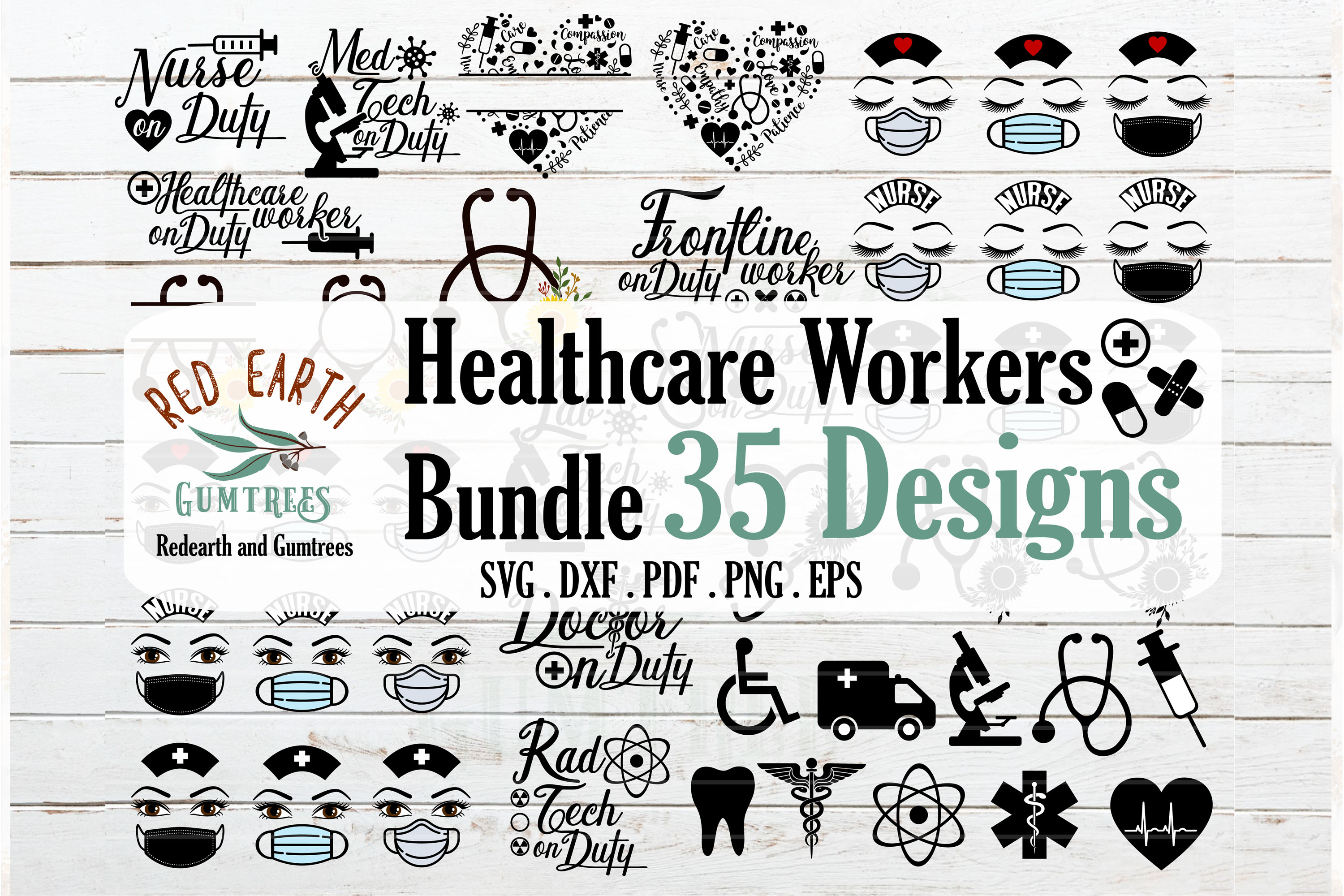 Download Free Healthcare Workers Bundle Grafik Von Redearth And Gumtrees for Cricut Explore, Silhouette and other cutting machines.
