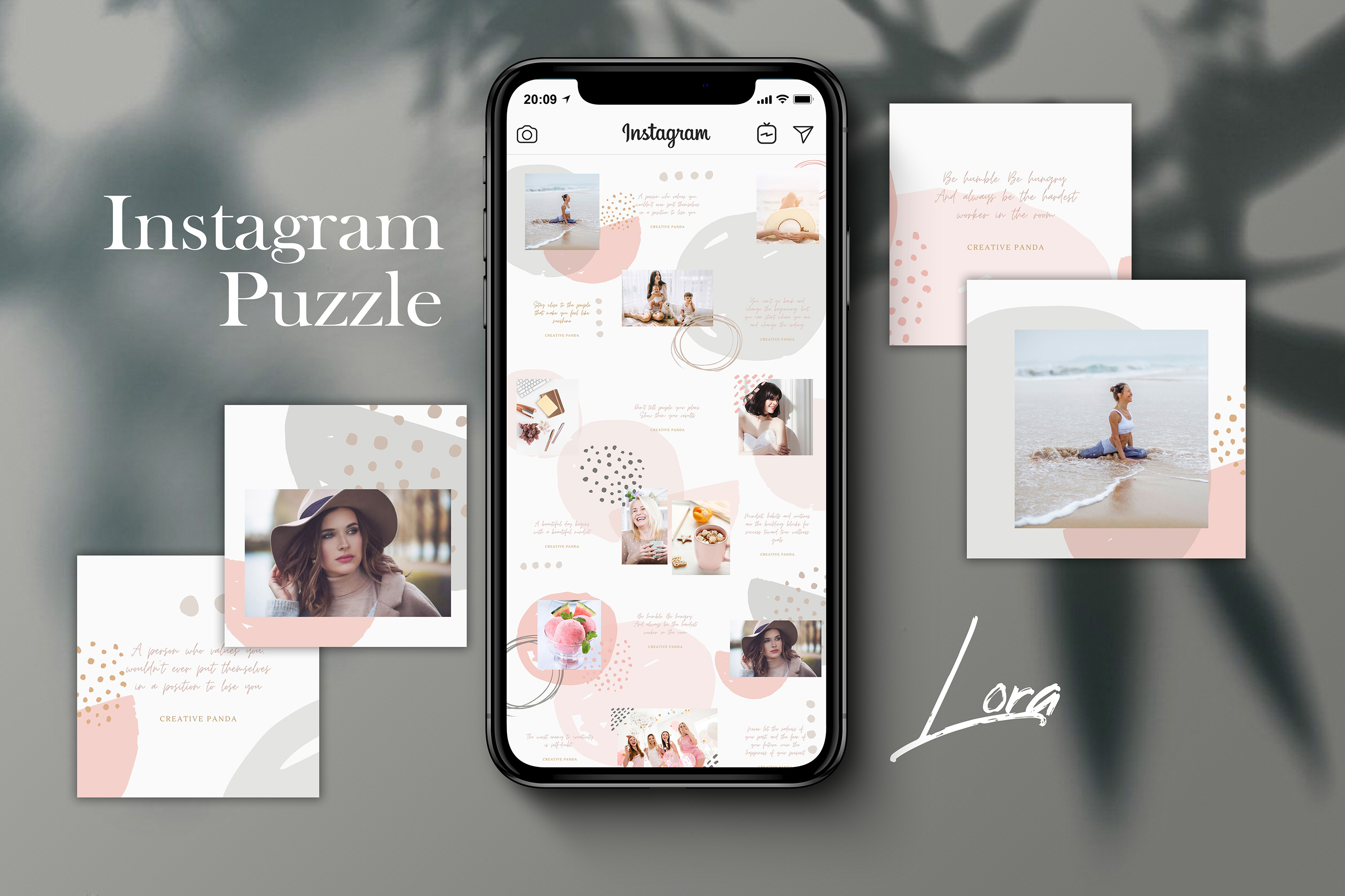 Download Free Instagram Puzzle Template Lora Graphic By Creativepanda for Cricut Explore, Silhouette and other cutting machines.