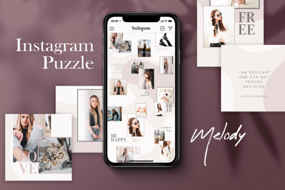 Download Free Instagram Puzzle Template Melody Graphic By Creativepanda for Cricut Explore, Silhouette and other cutting machines.