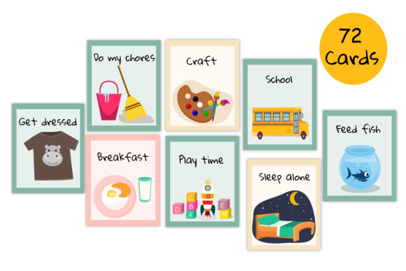Kids Routine Carsd, Visual Routine Graphic Print Templates By Igraphic Studio