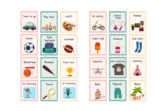 Download Free Kids Routine Carsd Visual Routine Graphic By Igraphic Studio for Cricut Explore, Silhouette and other cutting machines.