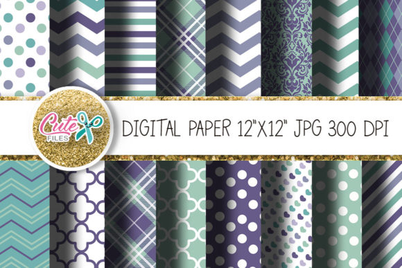 Lavender and Mint Digital Papers Graphic Textures By Cute files - Image 1