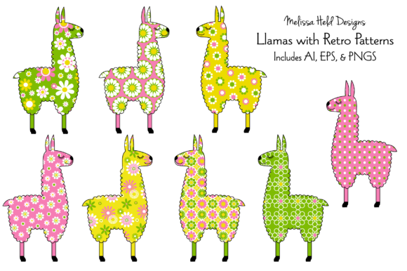 Llamas With Retro Patterns Graphic By Melissa Held Designs