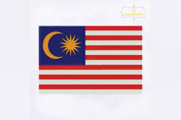 Malaysia Flag Asia Embroidery Design By RoyalEmbroideries