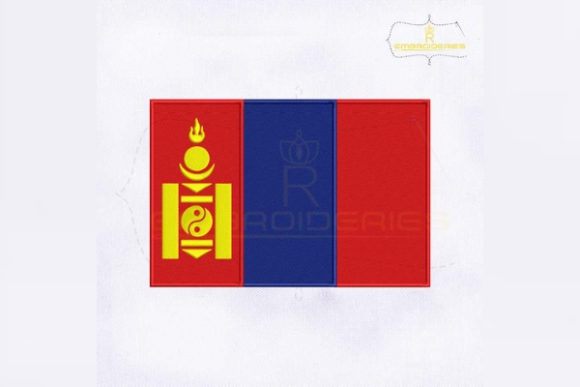 Mongolia Flag Asia Embroidery Design By RoyalEmbroideries