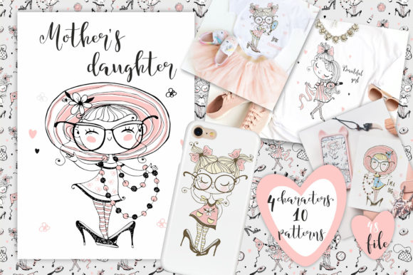 Download Free Mother S Daughter Graphic By Grigaola Creative Fabrica for Cricut Explore, Silhouette and other cutting machines.